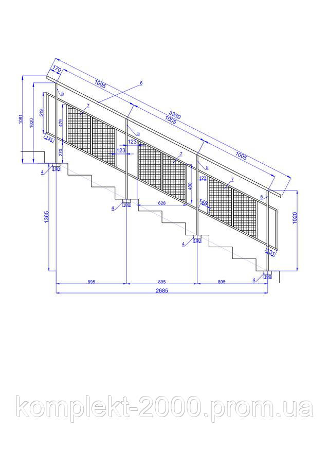 схема лестничных перил