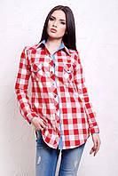 Женская рубашка в красно-белую клетку