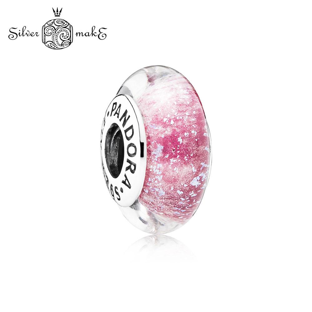Серебряный шарм Пандора Мурано Розовое мерцающее