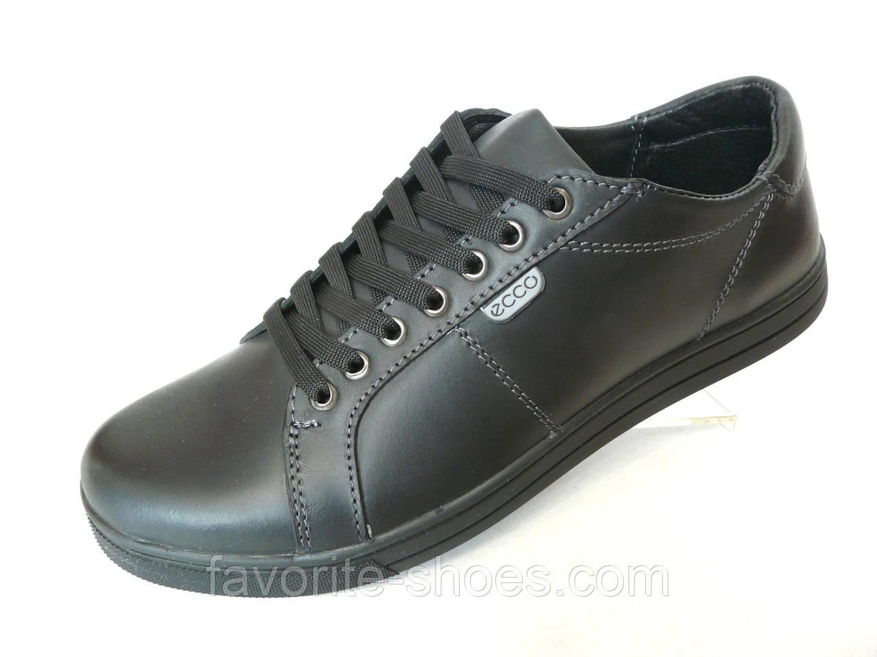 Кожаные мужские кроссовки ecco чер. t 23