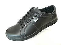 Кожаные мужские кроссовки ecco чер. t 23, фото 1
