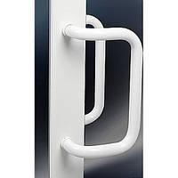 Ручка для металлопластиковой двери прямоугольной формы, цвет белый.