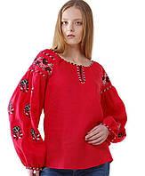 Вышиванка женская красная с цветами, фото 1