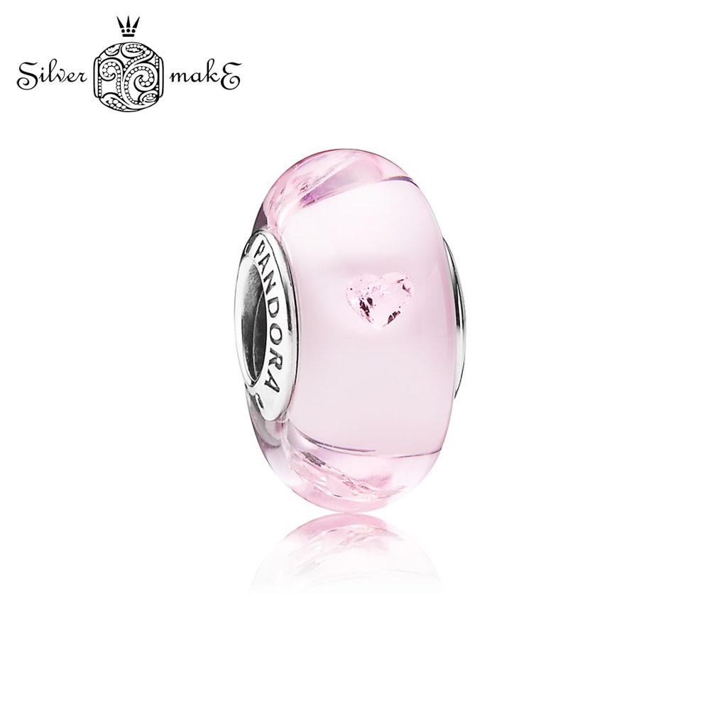 Серебряныйшарм для браслета Pandora Мурано Розовоес сердцем
