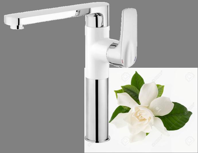 Змішувач для мийки Deante GARDENIA з прямокутним виливом, хром/білий