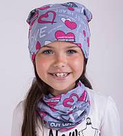 Шапочка трикотажная с шарфом хомут