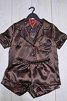 Модный атласный комплект пижамы цвета шоколад