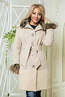 Кашемировое женское пальто с отделкой из ангоры и меха бежевого цвета. Арт -6080/91