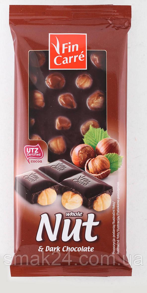 Шоколад черный Nut Fin Carre с цельным лесным орехом Германия 100 г