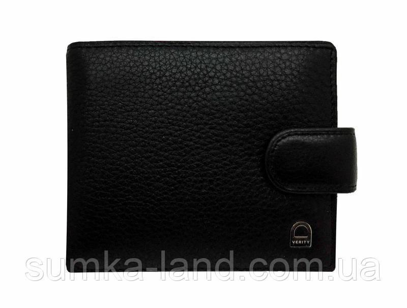 Мужской черный кошелек из натуральной кожи на кнопке с зажимом