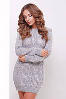 Серое короткое вязаное платье