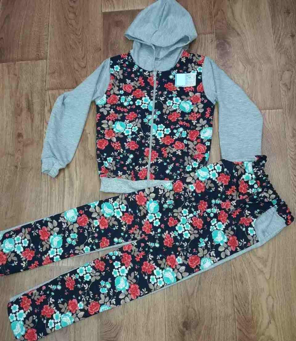 56f38edb8b3f Спортивный костюм двунитка для девочки с цветочным принтом за 230 ...