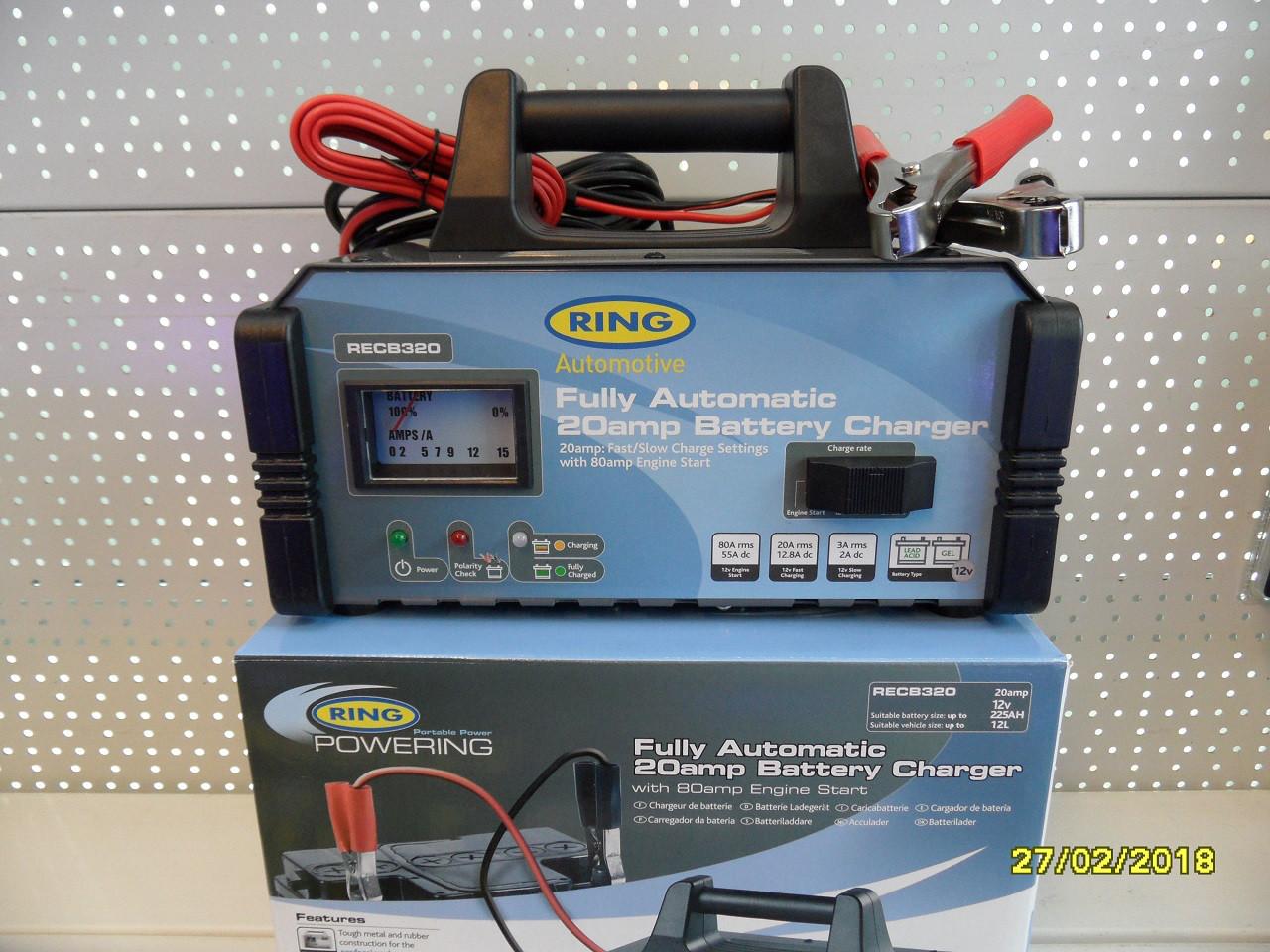 Автоматическое пуско-зарядное устройство RING RECB320 12В, 20А , пусковой ток 80А, RECB320