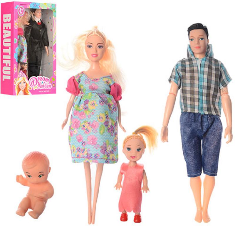 Сім'я набір ляльковий 6632-5-6 вагітна лялька, 2 види, в коробці, 31-20-8см