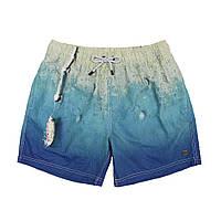 Пляжные шорты плавки IslandHase голубые принт яхта у причала (Австралия)