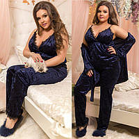 Домашний женский костюм тройка халат + штаны + майка велюр муар + итальянское кружево размеры 48-52 54-58