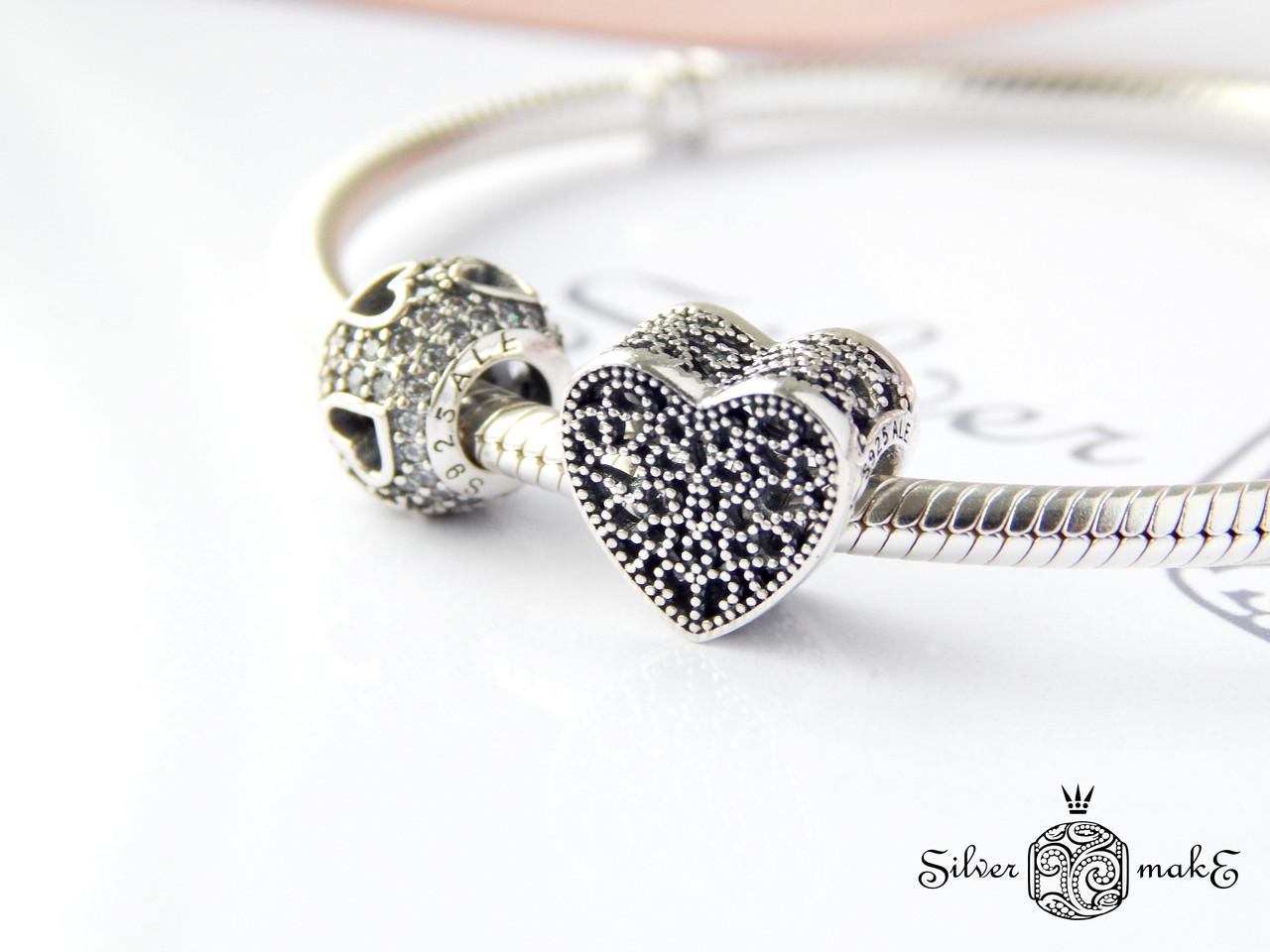 Срібний шарм Pandora Ажурне серце