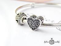 Срібний шарм Pandora Ажурне серце, фото 1