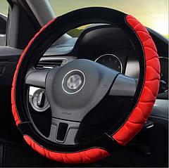 Теплая плюшевая оплетка на руль. Чехол красный Наружный диаметр 39-40 см
