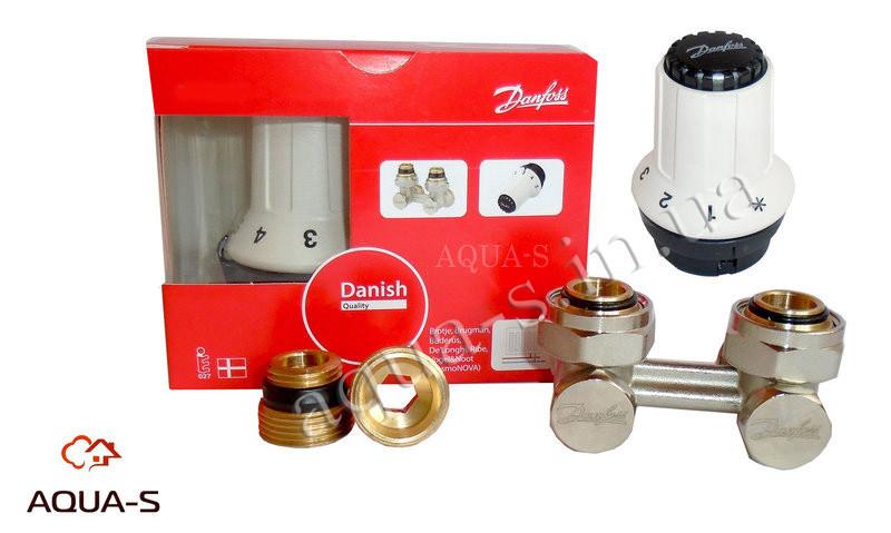 Комплект для нижнего подключения Danfoss DN 1/2'' (RAS-C+RLV-KS) прямой с термоголовой (013G5277)