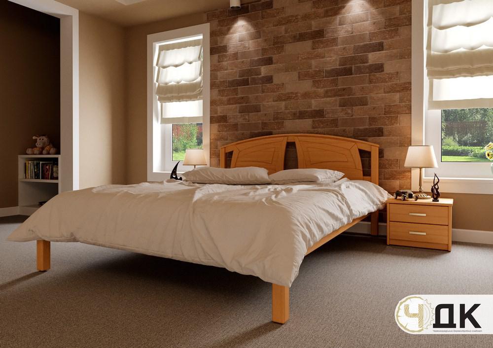 Ліжко півтораспальне з натурального дерева в спальню, дитячу Британія (Вільха) ДОК