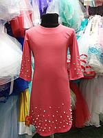 Платье кораловое для девочки 7-14лет, фото 1
