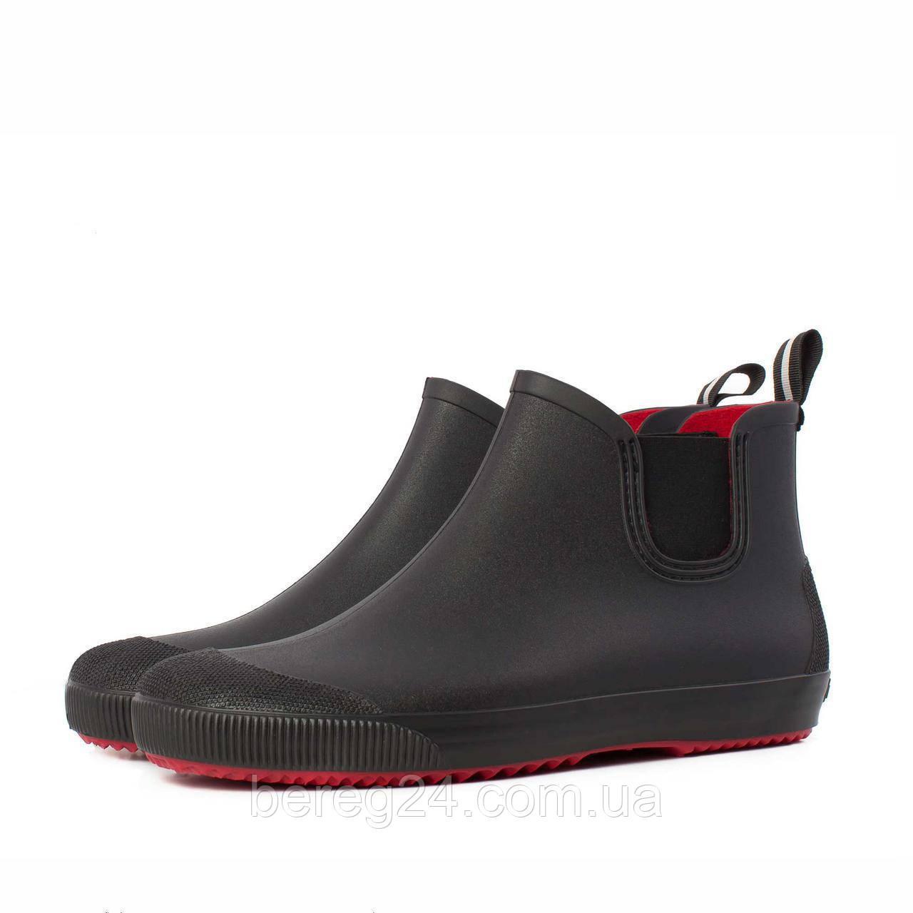 Мужские ботинки NordMan BEAT резиновые с эластичной вставкой черные размер 45