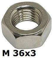 DIN 934 F (ГОСТ 5927-70; ISO 8673) - нержавеющая гайка шестигранная с мелким шагом резьбы М36х3