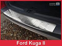 Накладка на бампер с загибом и ребрами Ford Kuga II (2013-...)