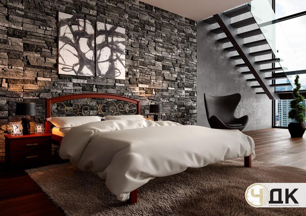 Ліжко півтораспальне з натурального дерева в спальню, дитячу Британія з ковкою (Вільха) ДОК
