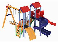 Детский игровой комплекс Авалон с пластиковой и спиральной горкой H-1,5 м + качели, фото 1