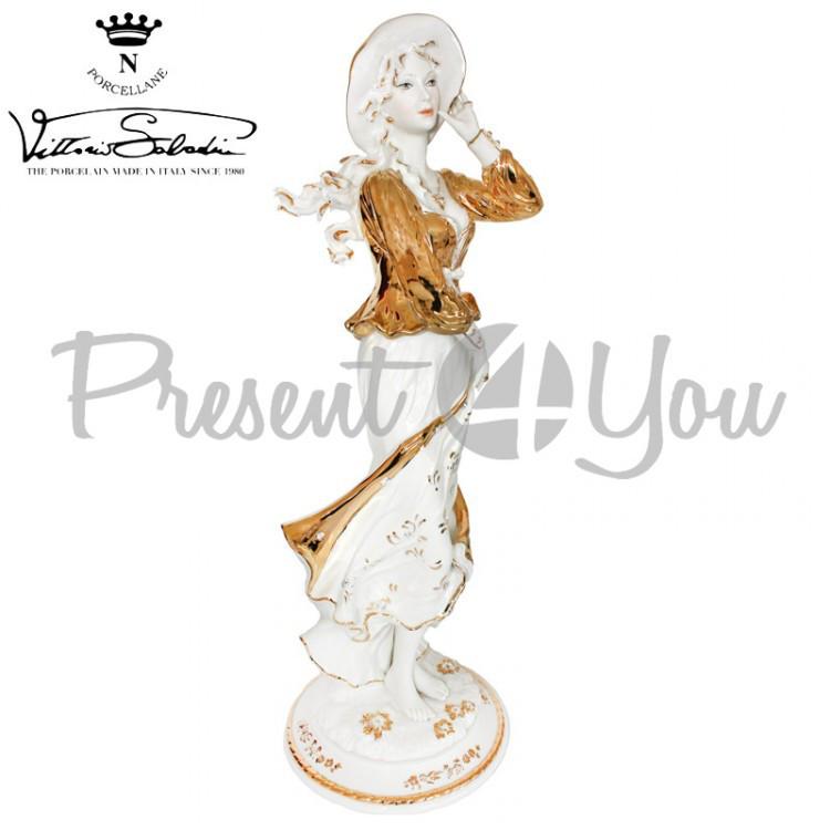 Фигурка-статуэтка фарфоровая Италия, ручная работа «Дама в шляпке» Sabadin, h-51см (43422s)