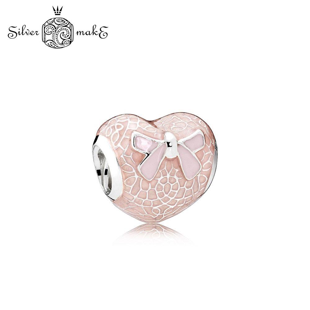 Серебряный шарм для браслета Пандора Кружевное сердце