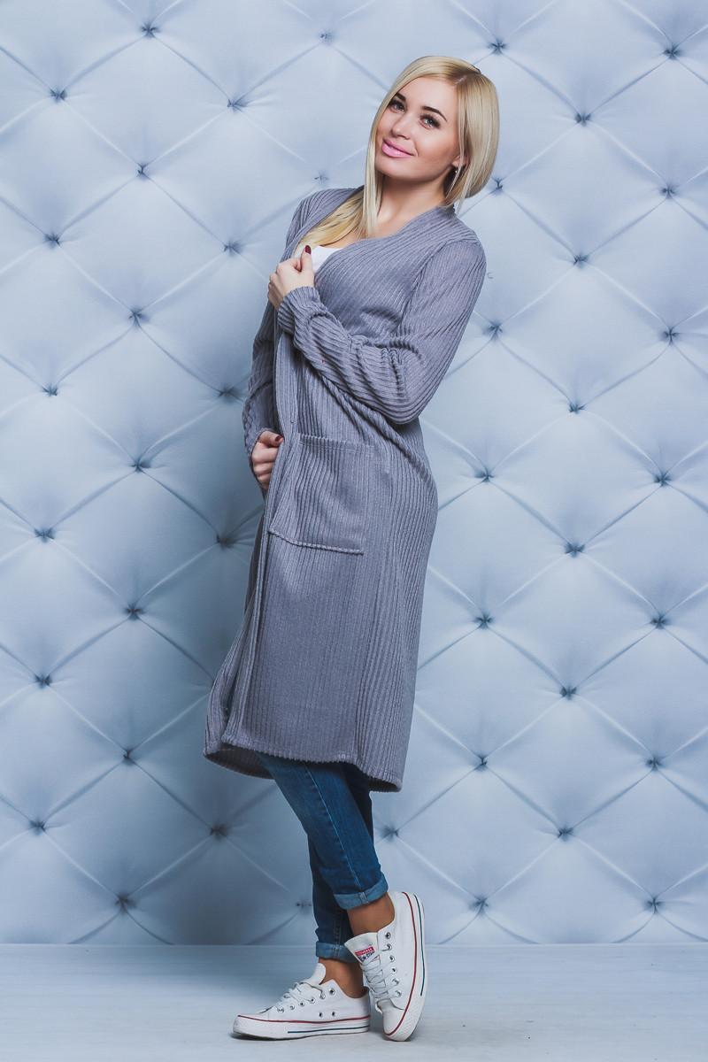 Кардиган удлиненный женский серый