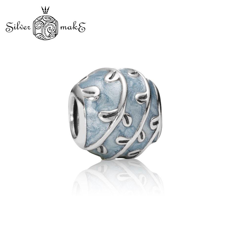 Бусина Серебряная Pandora Синее плетение