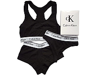 Женский комплект нижнего белья Calvin Klein - тройка - топ+стринги+шорты. Отличного качества. Реплика