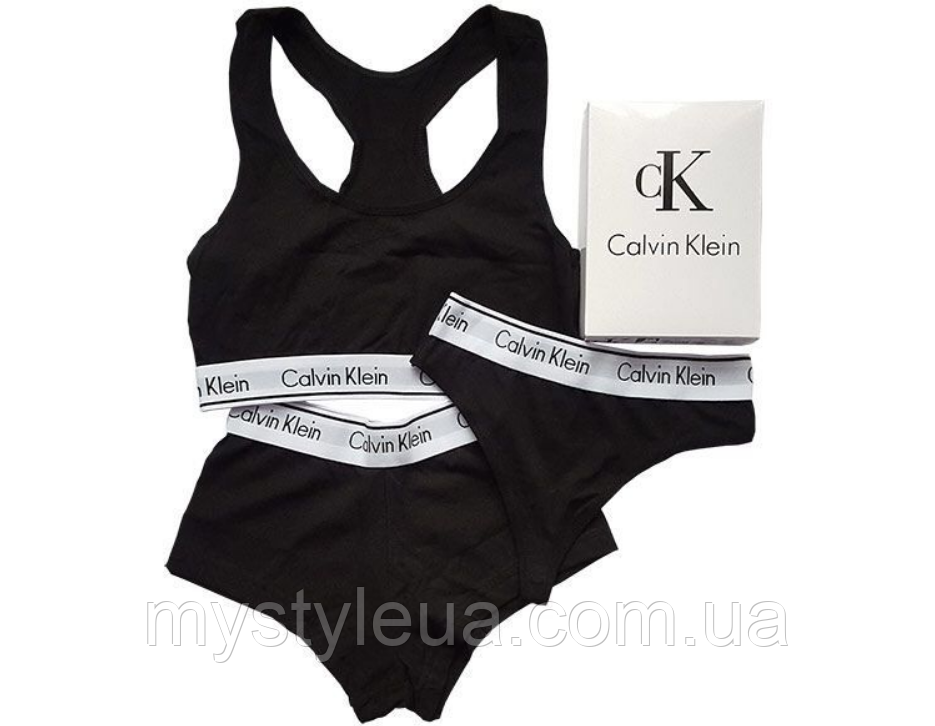 0b0baf7661d6b Женский комплект нижнего белья Calvin Klein - тройка - топ+стринги+шорты.  Отличного