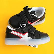 Черные детские кроссовки LED Tom.m для мальчика размер 22