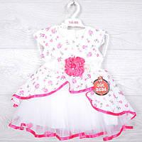 """Платье детское шифоновое """"Пион"""" со съемным поясом. 1-3 года. Бело-малиновое. Оптом."""
