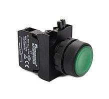 Кнопка нажимная круглая (1но) зеленая- пластик IP65