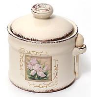 Сахарница керамическая 350мл с деревянной ложкой Розовый ирис BonaDi DK347-R