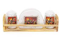 Набор для специй: солонка, перечница и салфетница на деревянной подставке Севилья BonaDi DM312-K