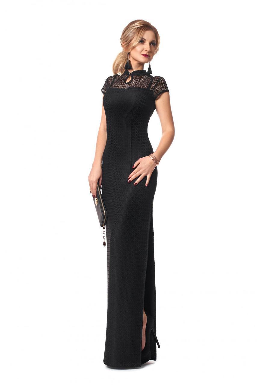 67b5cbb9079 Вечернее гипюровое платье макси черного цвета с коротким рукавом. Модель 957