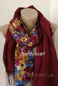 Женский шарф-палантин с цветами. Коричнево-красный Марсала синий желтый зеленый. Батист Бахрома