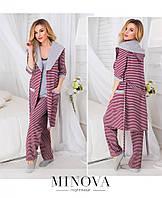 Пижамный комплект 3-ка: штаны, маечка и халат