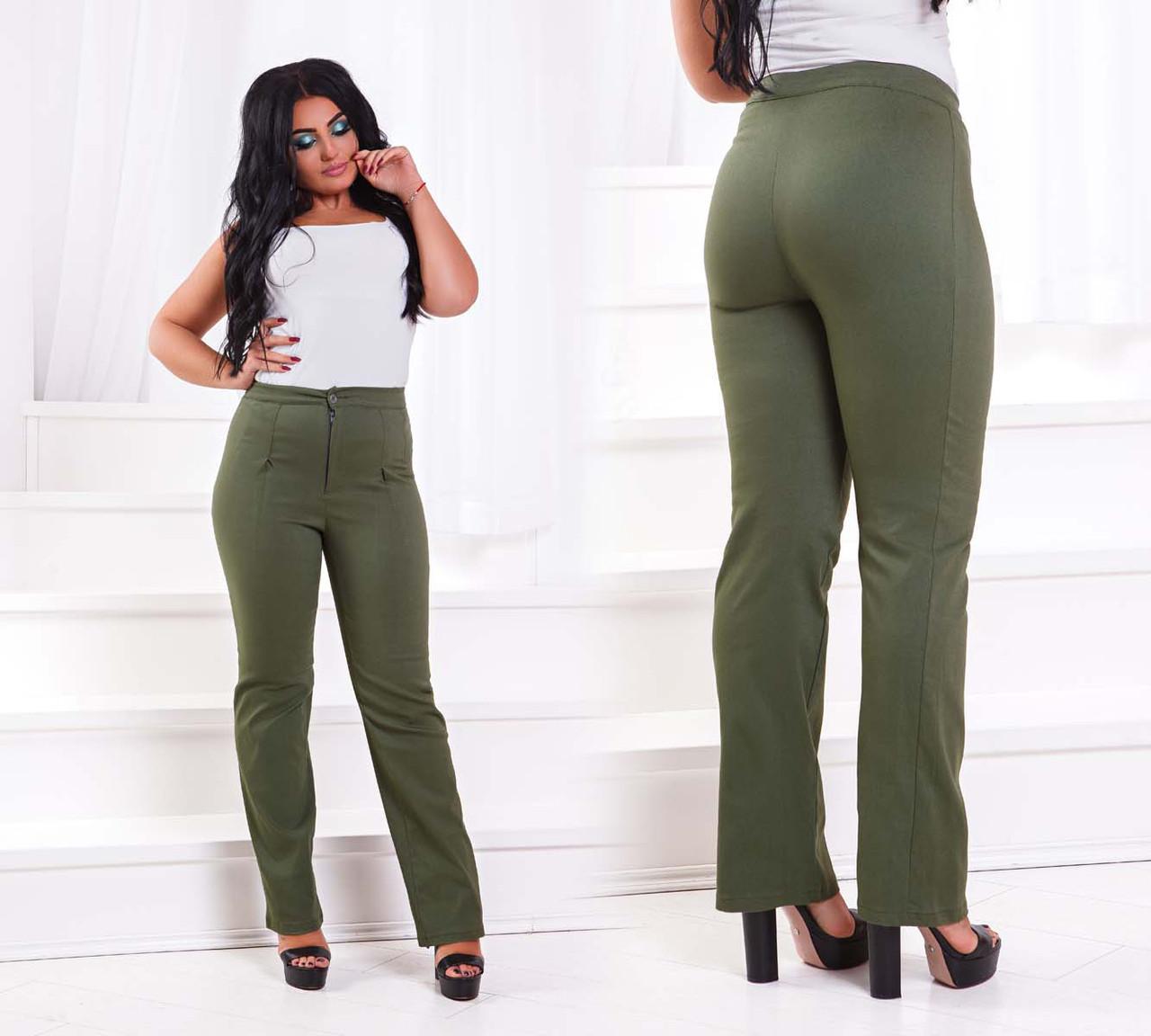 """Женские стильные брюки в больших размерах 215 """"Джинс Клёш Защипы"""" в расцветках"""