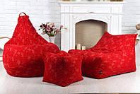 Кресло мешок груша пуф (набор) красного цвета Кресло мешок груша пуф (набор) красного цвета
