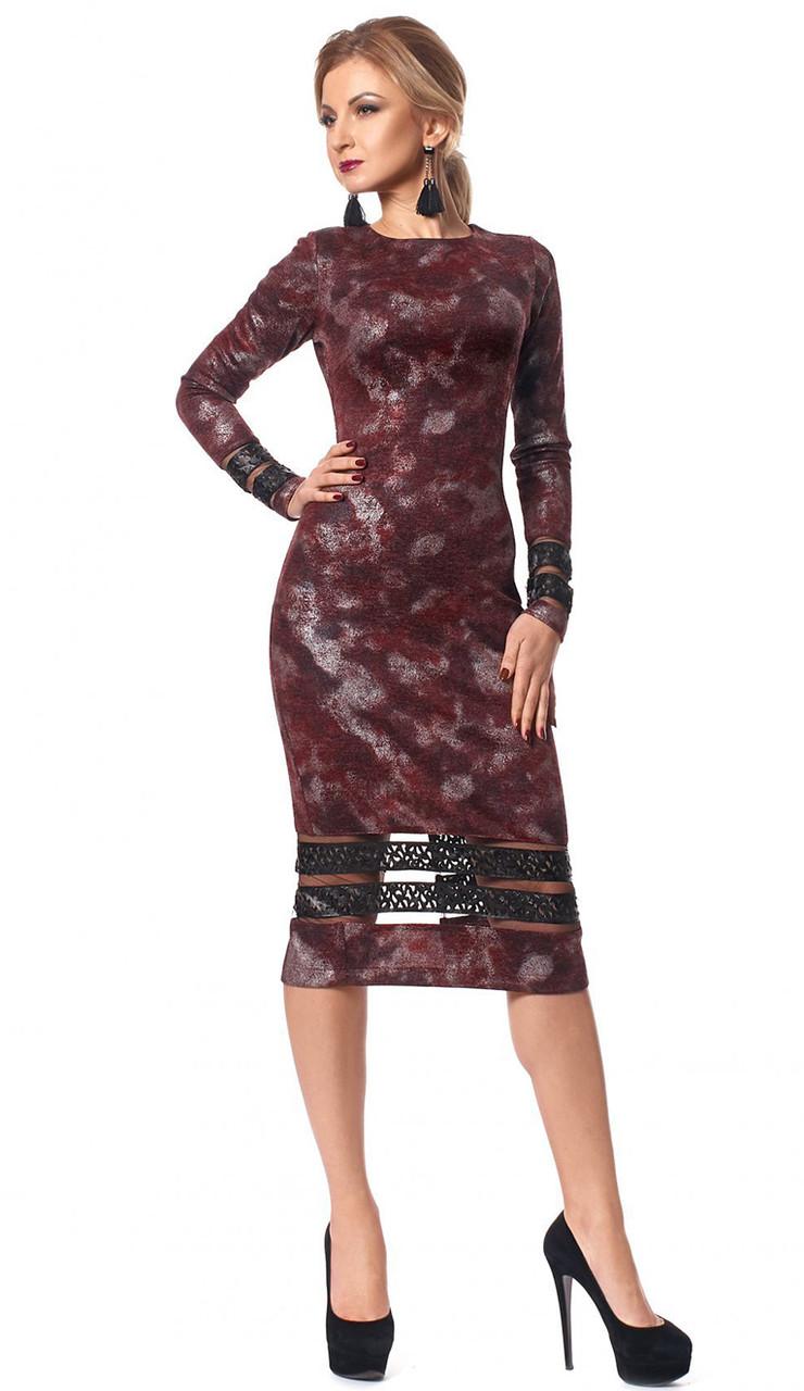2a27a544b08 Вечернее платье-футляр бордового цвета с длинным рукавом. Модель 1031