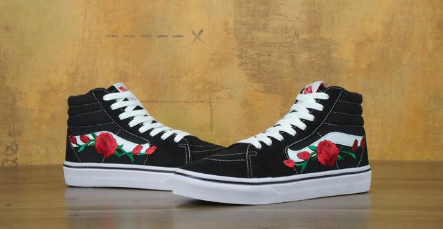 Vans SK8 Old Skool Black White Rose