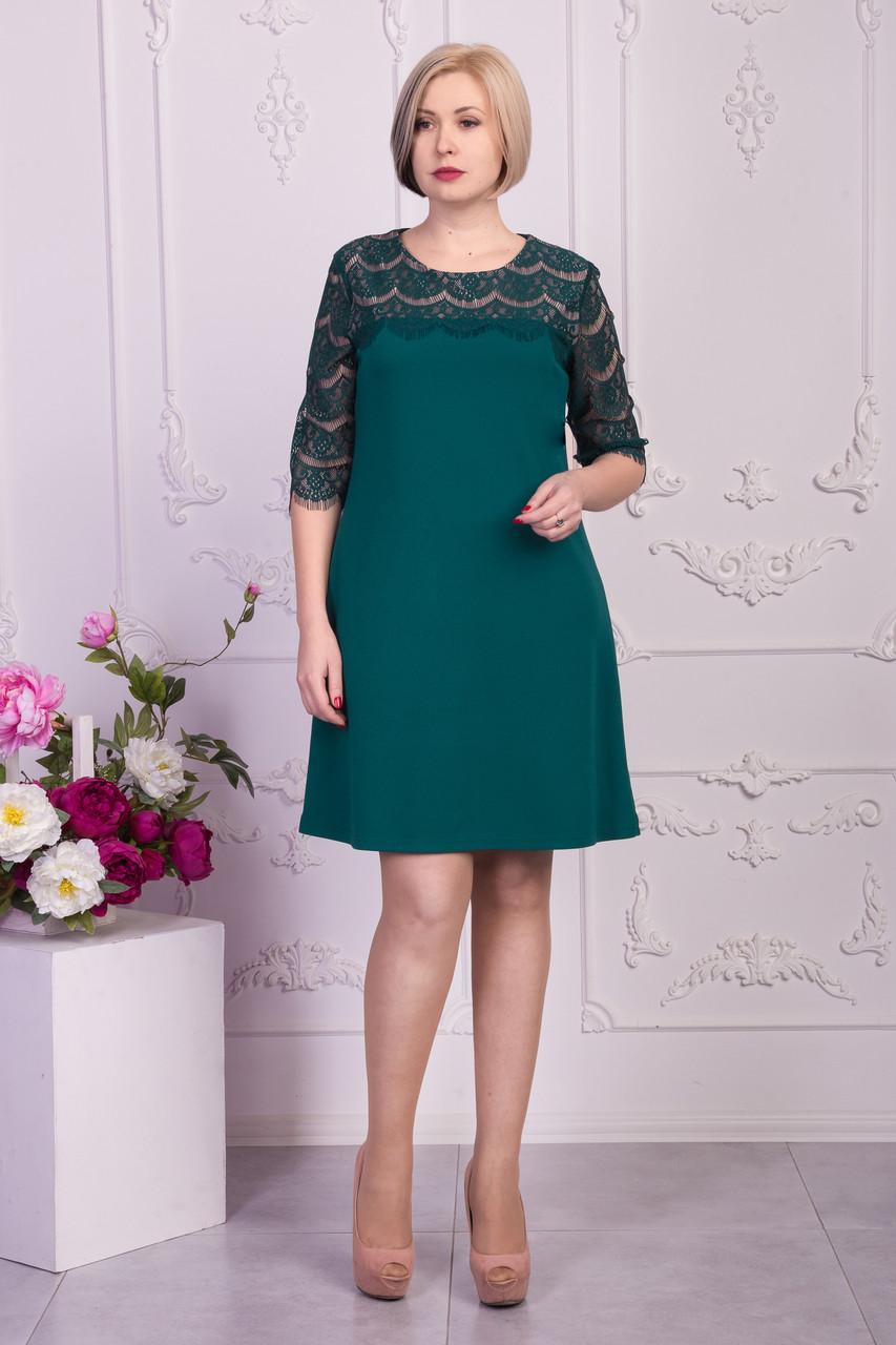 Однотонное платье с кружевными рукавами